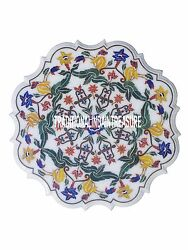 32 White Marble Serving Dish Plate Inlay Semi Precious Inlay Marquetry Gift Art