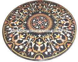 Black Marble Coffee Table Top Mosaic Decor Rare Marquetry Gemstone Inlay H2950