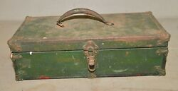 Antique Tool Box Collectible Fishing Jewelry Metal And Wood Vintage Parts Chest