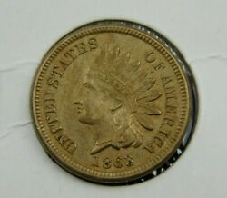 1863 Indian Head Cent Penny, Xf Collector Coin Better Date 676