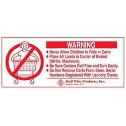 R And B Wire 902 Metal Laundry Cart Basket Warning Sign
