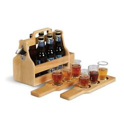 Picnic Plus Ppb-206 6 Pack Craft Beer Tasting And Carry Set - Wood