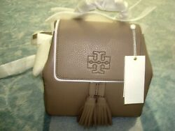 TORY BURCH LEATHER THEA MINI BACKPACK FRENCH GRAY 55367 $299.96
