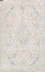 Antique Muted Tebriz Evenly Low Pile Handmade Distressed Floral Area Rug 9and039x13and039