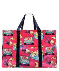 Beach Day Puppy NGIL Canvas Mega Zip Top Shopping Utility Tote Bag Free Ship! $34.98