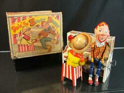 1950and039s Unique Art Howdy Doody Band Tin Wind Up Toy Bob Smith Character W/ Box