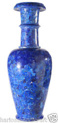 18 Marble Flower Vase Inlaid 100 Lapis Restaurant Table Arts Decor Gifts H2181