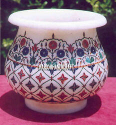 10 Marble Carving Flower Vase Floral Marquetry Inlay Interior Arts Gifts H4071d