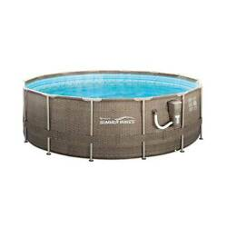 Summer Waves 14and039 X 48 Round Frame Above Ground Swimming Pool With Ladder And Pump