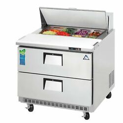 Everest Epbnsr2-d2 35 One Section Drawered Sandwich Prep Table 2 Drawers