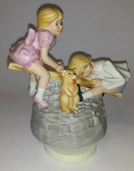 Mann Music Box Japan 2 Kids Playing On A Seesaw With A Dog Ceramic Vtg Figurine