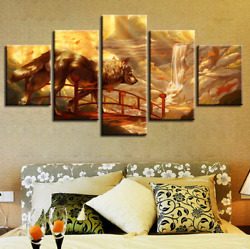 Wolf Abstract Paintings Anime Princess Mononoke Canvas Prints Pictures 5 Pieces