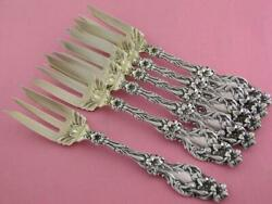 Rare 6 Sterling Whiting Pie Forks Lily 1902 No Mono