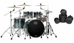 Mapex Saturn Teal Blue Fade Rock Fast Drums 22x18/10x7/12x8/16x14 Shells And Bags