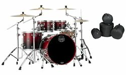 Mapex Saturn Scarlet Fade Rock Fast Drums 22x18/10x7/12x8/16x14 Shells And Bags