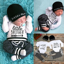 US Newborn Infant Baby Boy Little Brother Long Sleeve Romper Pant Outfit Clothes $12.99