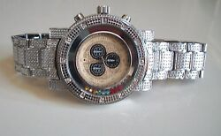 Men's Color Floating Stones Silver Finish Dressy/casual Wear Fashion Wrist Watch
