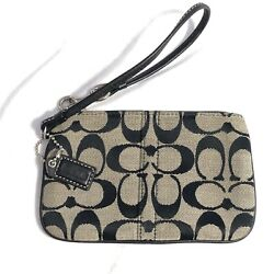 Coach Signature Wristlet Gray Black Fabric Leather 6 x 4 inches Bag $24.99