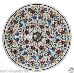 44 Marble Dining Round Table Top Marquetry Floral Inlay Arts Garden Decor H2318