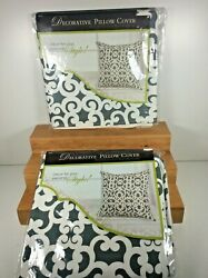 2 X Decorative Pillow Covers 18x18 inch Pillow COVERS Only Grey White