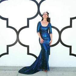Kevan Hall iridescent sequin gown with train