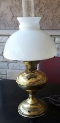 Antique Aladdin Oil Lamp Converted To Electric 21 Hurricane Lamp And Shade  5/20