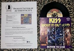 Vintage KISS autographed 45 1977 record sleeve by original members BAS COA LOA