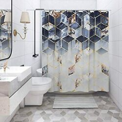 Geometric Shower Curtain, Gold Marble Modern Black And White Art Polyester With