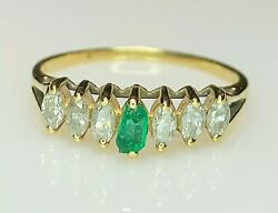 Raw Emerald And Marquise Diamond Ring 14k Yellow Gold Womens Size 7.25