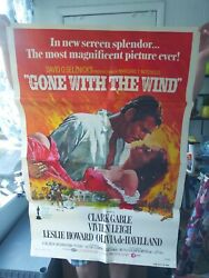 Vtg Gone With The Wind Andcopy1970 Metro Goldwyn Mayer 27andtimes 41 Movie Poster 74/312