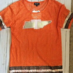 Game Day Couture Tennessee Vols Football Jersey Shirt Size M Orange Nwt P88