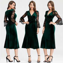 Ever Pretty Long Evening Dress Velvet Fishtail Lace Flare Sleeves Cocktail Gowns $12.99