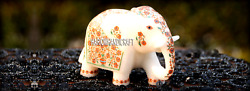 4'' White Marble Elephant Hakik Stone Marquetry Good Luck Arts Gifts Decor H3667