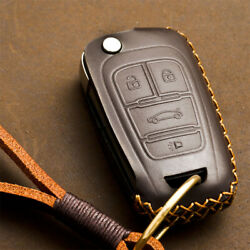 1pcs Genuine Leather Car Key Fob Case Cover Holder Chain For Buick Chevrolet Gmc