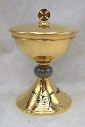 Nice Antique Ciborium + All Goldplated With Inlaid Baked Enamel, Chalice Cu713