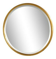 L40013 Friedman Brothers 7117 Round Etched Glass Gold Mirror New