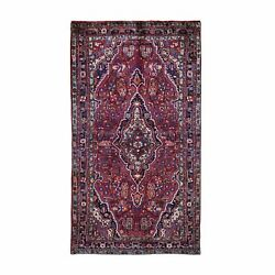 5'x8'10 Red Vintage North West Farsian Pure Wool Hand Knotted Rug R49798