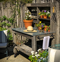 Outdoor Potting Table Workbench Buffet Island Cart Hardware 6in Vintage Casters