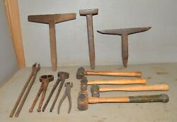 Blacksmith Forged Tools 3 Stake Anvil 4 Hammers 4 Tongs Collectible Antique Lot