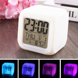 7 Color Glowing Change LED Digital Alarm Clock Thermometer Table Cube Clock Time
