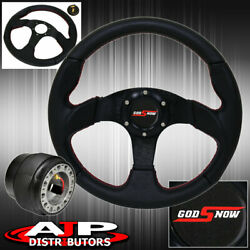 Pvc Leather 320mm Steering Wheel + Hub Adapter + Godsnow Button For 90-96 300zx