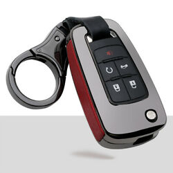 Zinc Alloy Leather Car Flip Key Fob Case Cover Holder Chain For Gm Buick Chevy