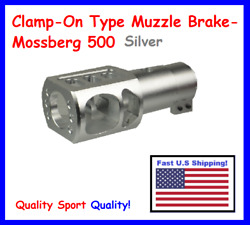 Muzzle Brake For 12ga Mossberg 500 Only- Recoil Reduction, Silver