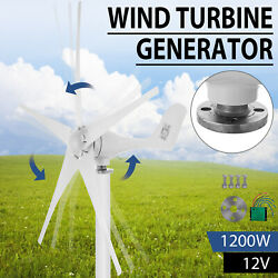 1200W Wind Turbine Generator DC 12V Charger Controller Home Power 5 Blades $131.50