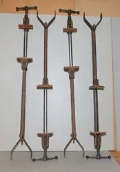 4 Antique Bar Clamps Woodworking Bench Glue Up Tool Collectible Cast Iron Lot