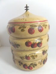 Stacking Canisters, Vintage Tin, Strawberries And Butterflies S24