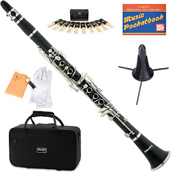 Mendini MCT-E+SD+PB Black B Flat Clarinet with Case Stand Pocketbook Mouthpie