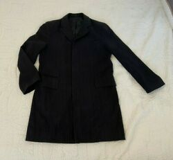 Fcuk French Connection Menand039s 40 Dark Black Coat Overcoat Xl