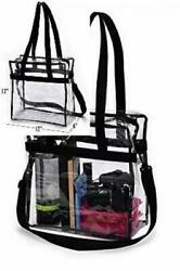 Clear Tote Bag NFL Stadium Approved - Shoulder Straps and Zippered Top. Black  $31.40