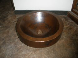 Copper Round Double Wall Skirted Sink Hammered Vessel Bathroom Sink Mudroom New